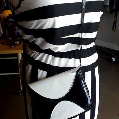 black and white stripe dress