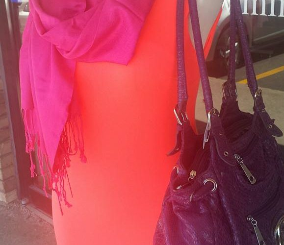 Plain coral with purple purse